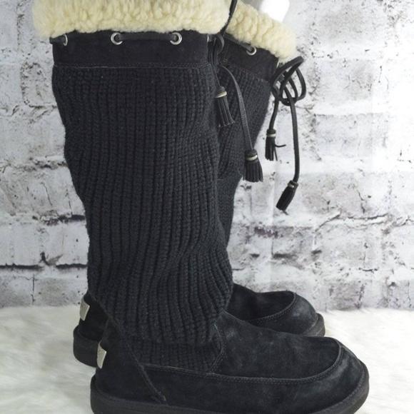 97376341414 UGG Suburb Crochet Tall Black Knit Boots